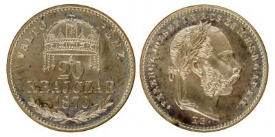 Ferenc József 20 krajcár 1870 KB. uv.