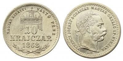 Ferenc József 10 krajcár 1868 KB.
