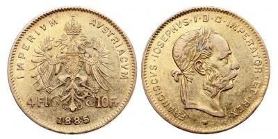 Ferenc József 4 forint-10 frank 1885