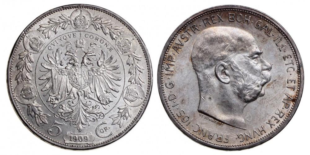 Ferenc József 5 korona 1909 vjn.