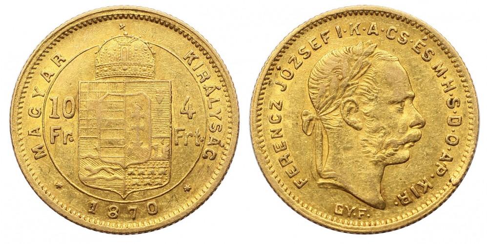 Ferenc József 4 Forint 1870 GYF