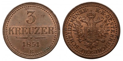 Ferenc József 3 krajcár 1851 B