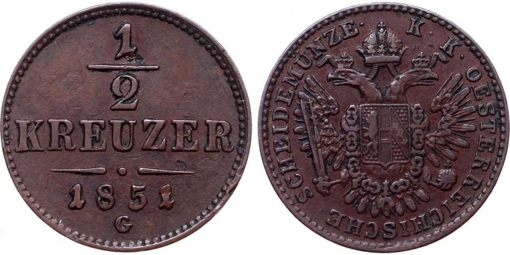 Ferenc József 1/2 krajcár 1851 G R!