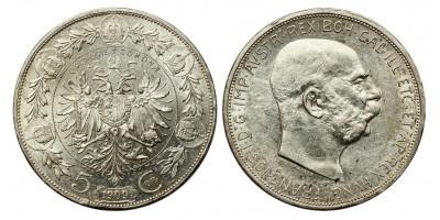 Ausztria 5 korona 1909 vjn.