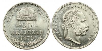 Ferenc József 20 krajcár 1870 VP KB. UV