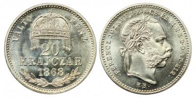 Ferenc József 20 krajcár 1868 M.K.V.P. KB. UV