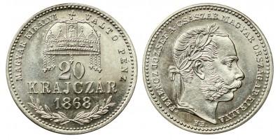 Ferenc József 20 krajcár 1868 VP KB. UV