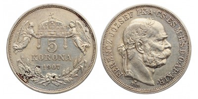 Ferenc József 5 korona 1907 KB.