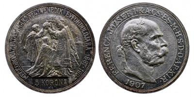Ferenc József 5 Korona 1907 Koronázási