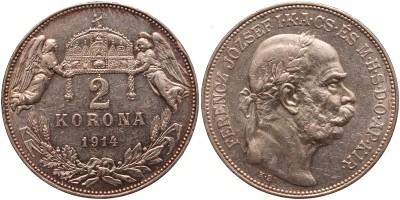 Ferenc József 2 korona 1914 KB.