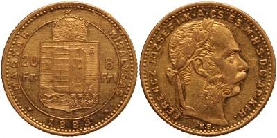 Ferenc József 20 frank-8 forint 1883 KB.