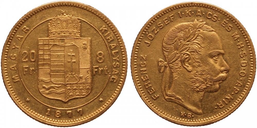 Ferenc József 20 frank-8 forint 1877 KB.