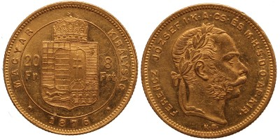 Ferenc József 20 frank-8 forint 1876 KB.
