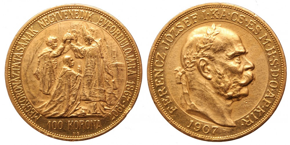 Ferenc József koronázási 100 korona 1907 KB.