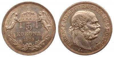 Ferenc József 5 korona 1908 KB.