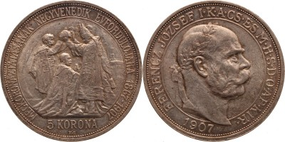 Ferenc József koronázási 5 korona 1907