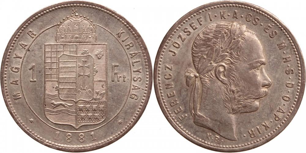 Ferenc József 1 forint 1881 KB (széles címer)
