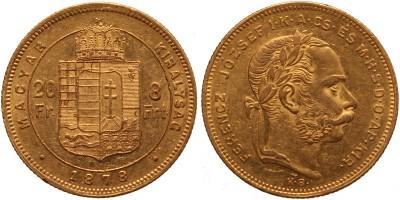 Ferenc József 20 frank-8 forint 1878 KB.