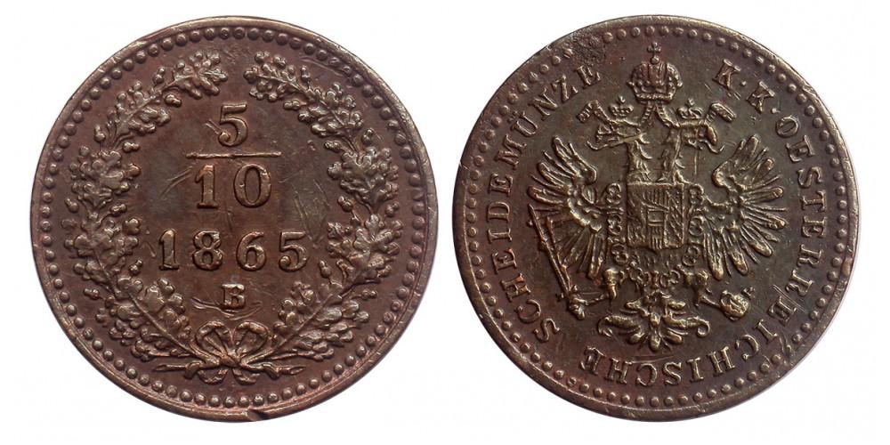 Ferenc József 5/10 krajcár 1865 B