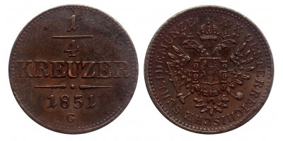 Ferenc József 1/4 krajcár 1851 G