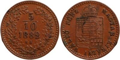 Ferenc József 5/10 krajcár 1882 KB