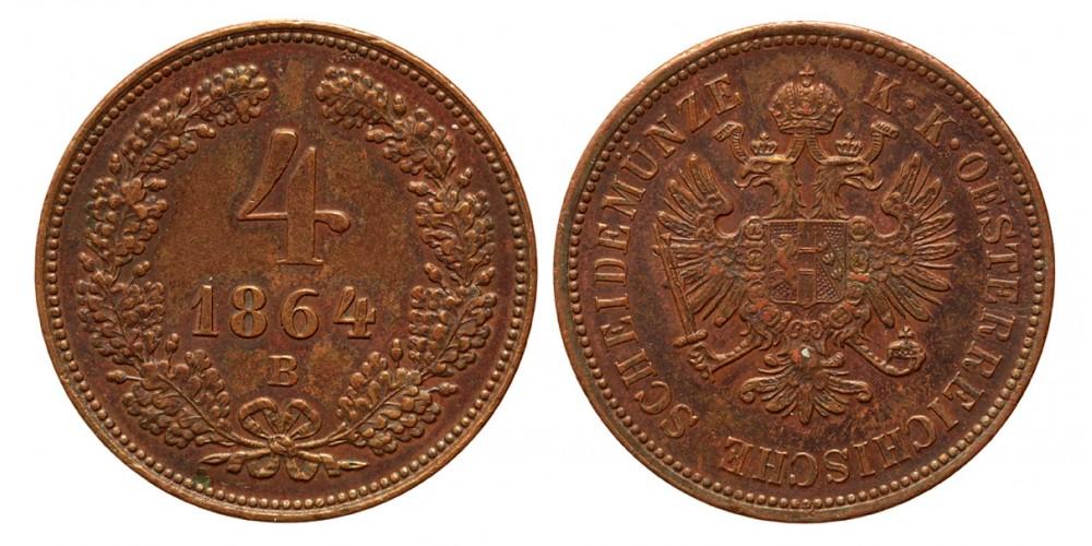 Ferenc József 4 krajcár 1864 B