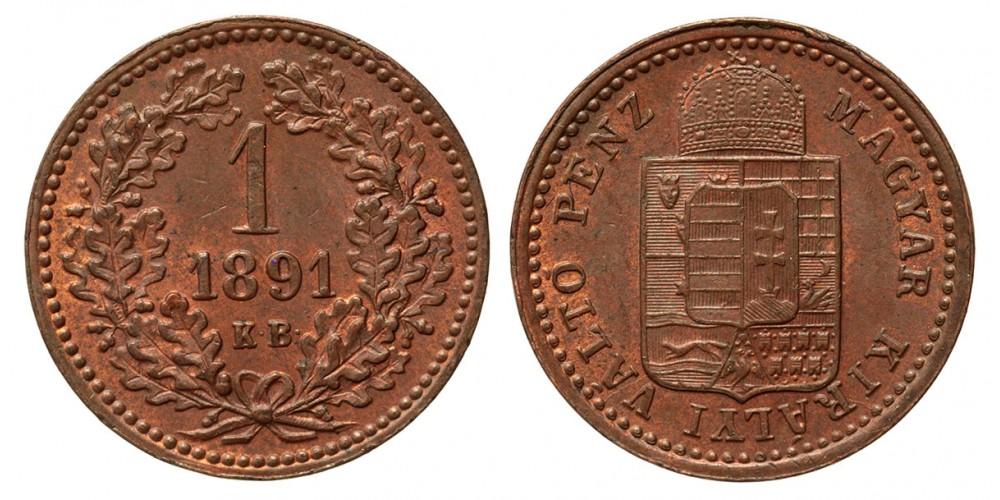 Ferenc József 1 Krajcár 1891 KB