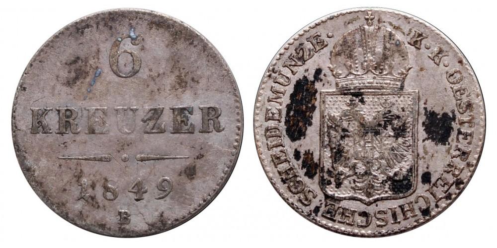 Ferenc József 6 krajcár 1849 B