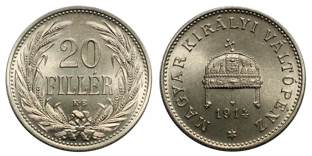 Ferenc József 20 fillér 1914 KB. Artex veret