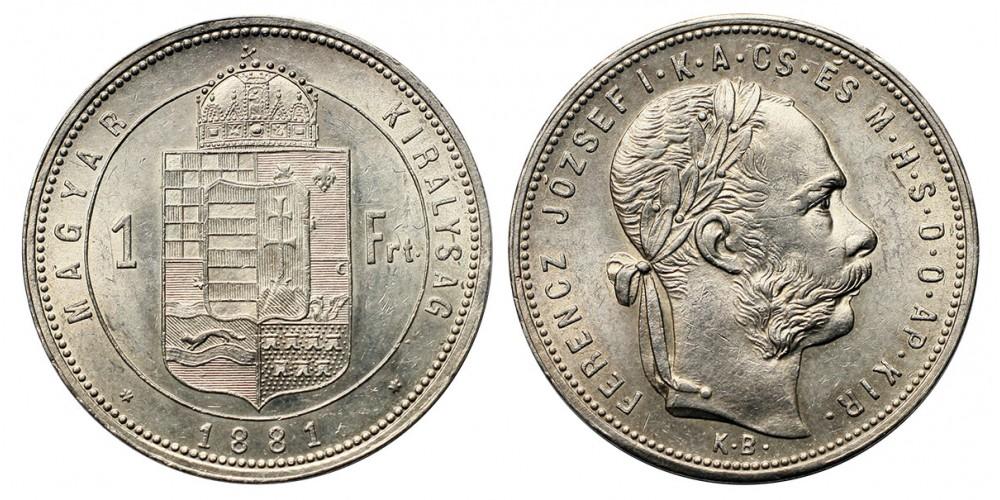 Ferenc József 1 forint 1881 KB.