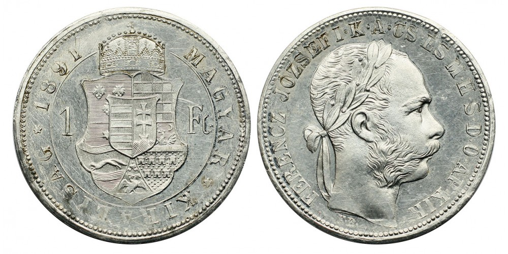 Ferenc József 1 forint 1891 KB. Fiume címer alumínium próbaveret RRR!
