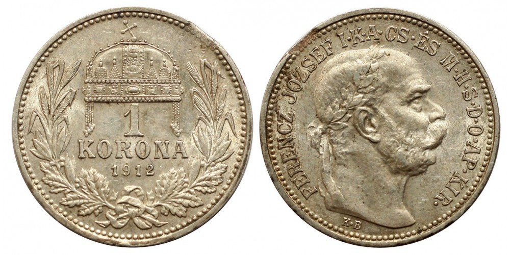 1 Korona 1912 KB hibás veret
