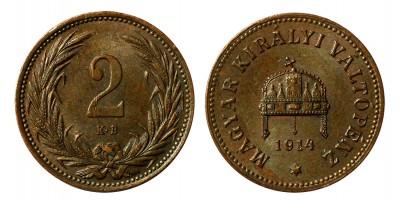Ferenc József 2 fillér 1914 KB.