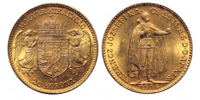 Ferenc József 20 Korona 1914 K.B. Bosznia