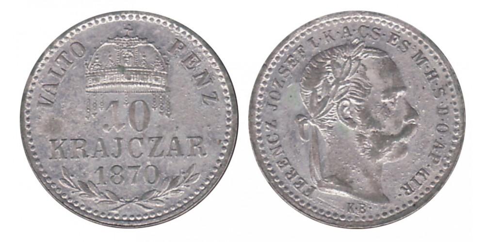 Ferenc József 10 krajcár 1870 KB