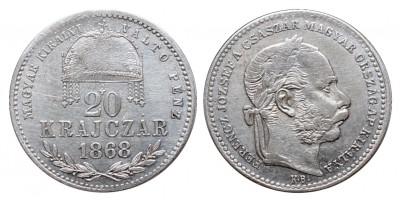 Ferenc József 20 krajcár 1868 KB