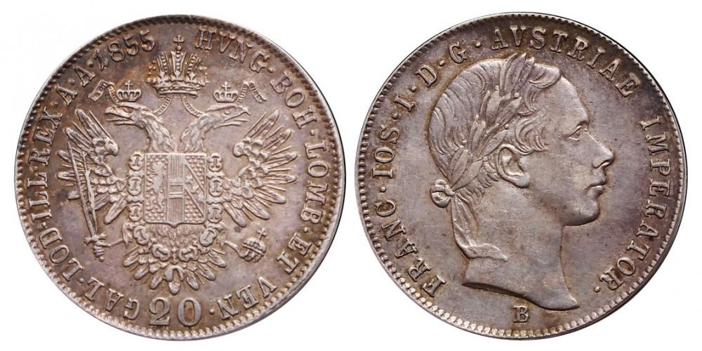 Ferenc József 20 krajcár 1855 B