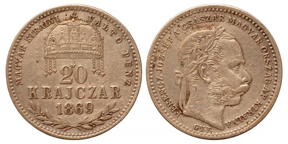 Ferenc József 20 krajcár 1869 GYF