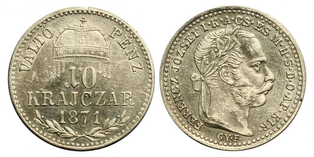 Ferenc József 10 krajcár 1871 VP. Gyf