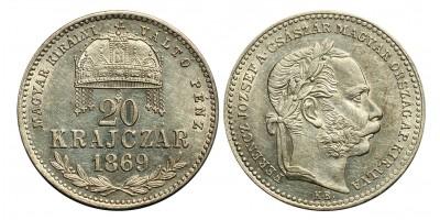 Ferenc József 20 krajcár 1869 KB
