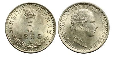 Ferenc József 5 krajcár 1863 A R!