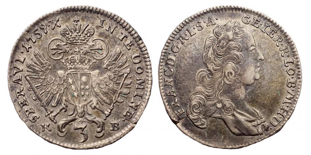 Lotharingiai Ferenc 3 krajcár 1759 KB. R!