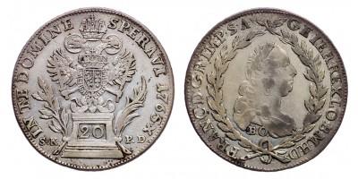 Lotharingiai Ferenc 20 krajcár 1765 S.K.P.D./B.O