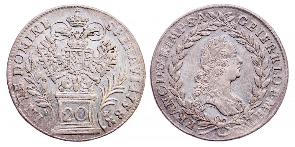 Lotharingiai Ferenc 20 krajcár 1758 PR