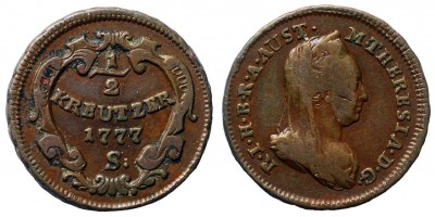 Mária Terézia 1/2 krajcár 1777 S