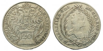 Mária Terézia 20 Krajcár 1755 Prága