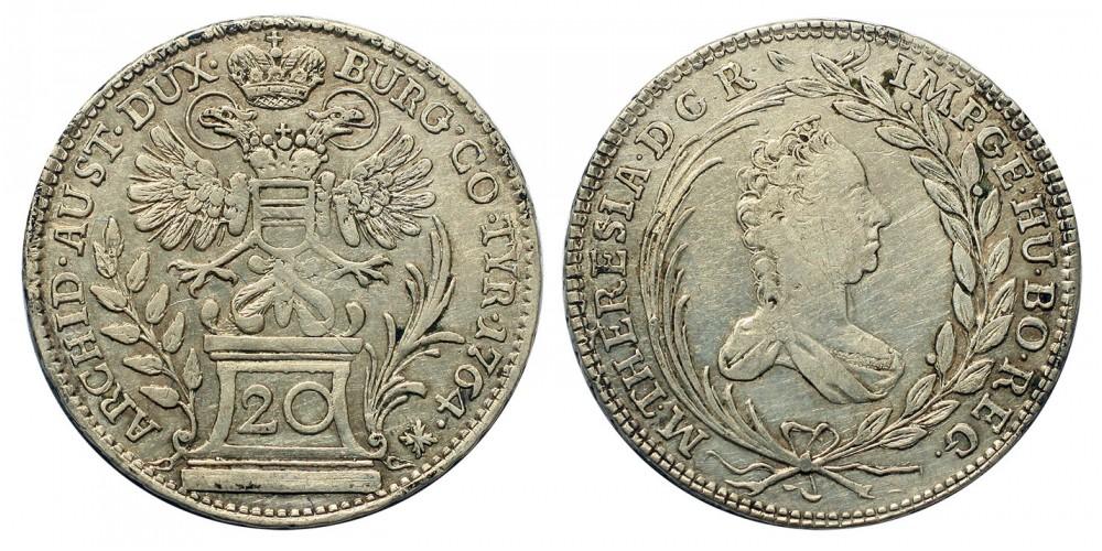 Mária Terézia 20 Krajcár 1764 Bécs