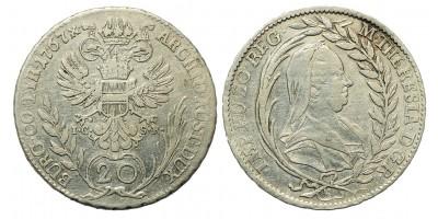 Mária Terézia 20 Krajcár 1767 Bécs