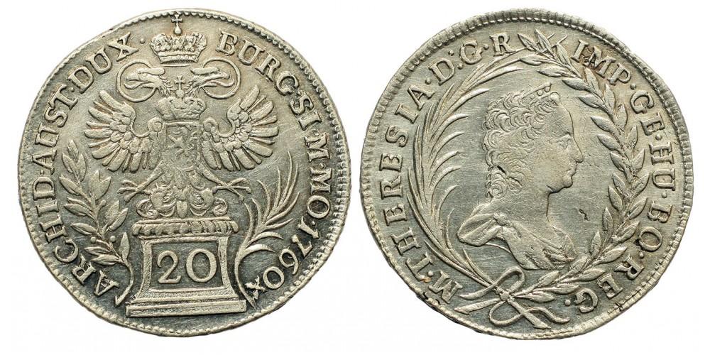 Mária Terézia 20 Krajcár 1760 Graz R!
