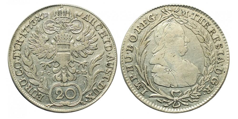 Mária Terézia 20 Krajcár 1773 Bécs